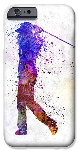Cut-outs Paintings iPhone Cases - Man Golfer Swing Silhouette iPhone Case by Pablo Romero