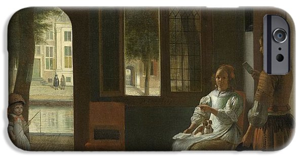Domestic Scene iPhone Cases - Man Handing a Letter to a Woman in the Entrance Hall of a House iPhone Case by Pieter de Hooch