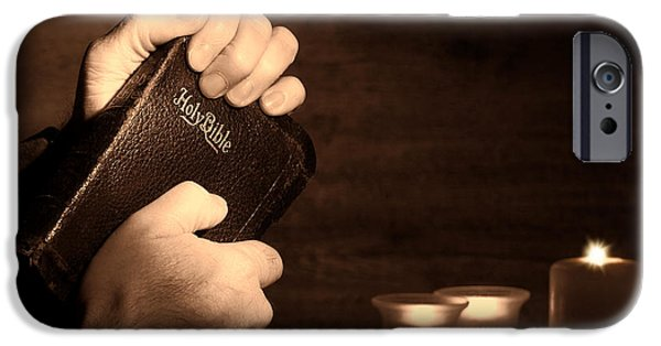 Bible Photographs iPhone Cases - Man Hands and Bible iPhone Case by Olivier Le Queinec