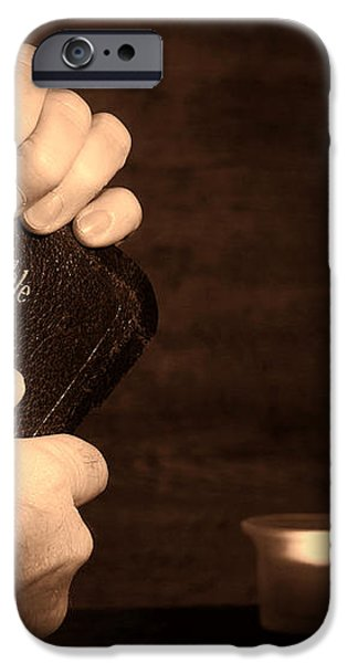 Man Hands and Bible iPhone Case by Olivier Le Queinec