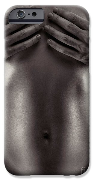 Covering Up iPhone Cases - Man hands covering nude woman breasts black and white iPhone Case by Oleksiy Maksymenko