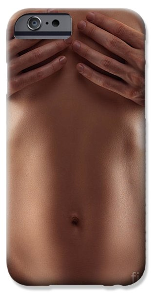 Covering Up iPhone Cases - Man hands covering nude woman breasts iPhone Case by Oleksiy Maksymenko