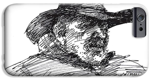 Sketch iPhone Cases - Man in a Cowboy Hat iPhone Case by Ylli Haruni