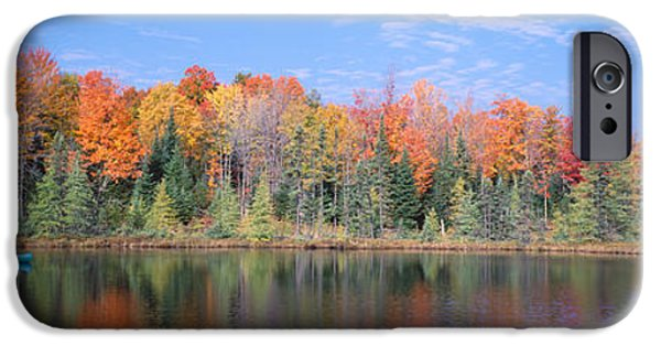 Canoe iPhone Cases - Man In Canoe Nr Antigo Wi Usa iPhone Case by Panoramic Images
