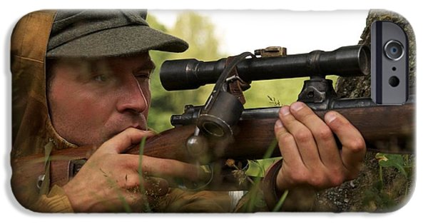 Ammunition iPhone Cases - Man In Form Of Nazi Sniper iPhone Case by Aleksey Tugolukov