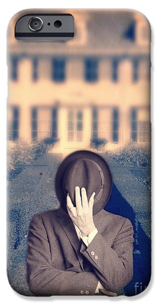 Mansion iPhone Cases - Man in front of mansion  iPhone Case by Edward Fielding