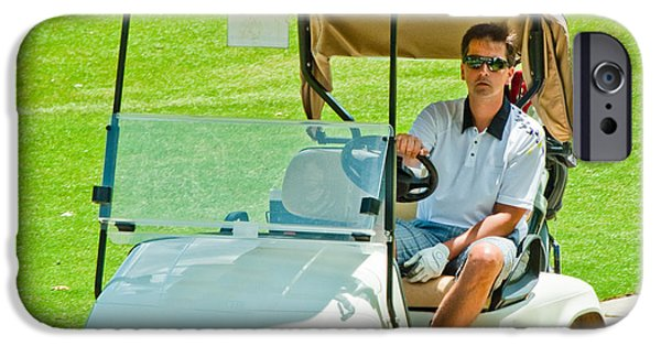 Sports Pyrography iPhone Cases - Man in golf cart iPhone Case by Brett Price