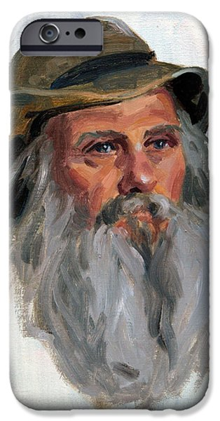 Character Study iPhone Cases - Man In Hat iPhone Case by Leona Turner