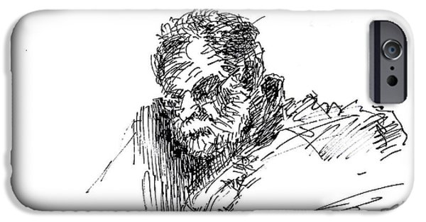 Sketch iPhone Cases - Man in the corner iPhone Case by Ylli Haruni