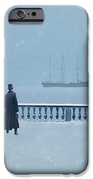 Sail Board iPhone Cases - Man in Top Hat Watching a Ship in Snow iPhone Case by Jill Battaglia