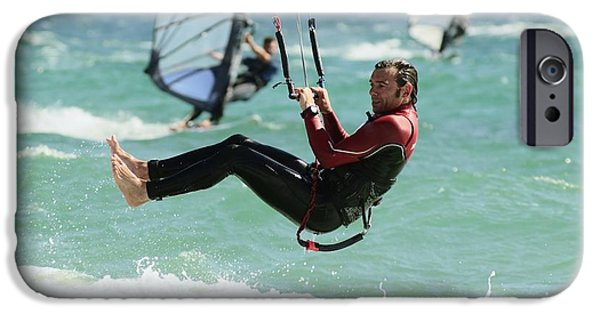Mature Adult iPhone Cases - Man Kitesurfing iPhone Case by Ben Welsh