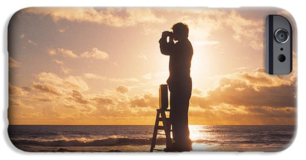 Eerie iPhone Cases - Man Looking Through Binoculars In iPhone Case by Panoramic Images