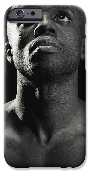 Bare Shoulder iPhone Cases - Man Looking Up iPhone Case by Darren Greenwood