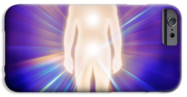 Luminous Body iPhone Cases - Man luminous ethereal body energy emanations concept iPhone Case by Oleksiy Maksymenko