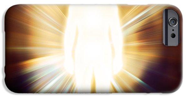 Luminous Body iPhone Cases - Man luminous ethereal body Qi energy iPhone Case by Oleksiy Maksymenko