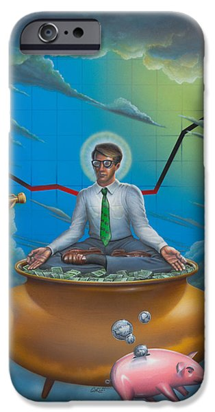 Business Paintings iPhone Cases - Man Meditating On Pot Of Gold - Time - Art - Illustration - Money - Wallstreet  iPhone Case by Walt Curlee