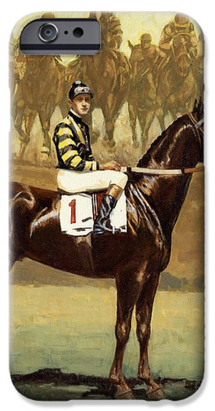 Race Horse Paintings iPhone Cases - Man O War  iPhone Case by Don  Langeneckert