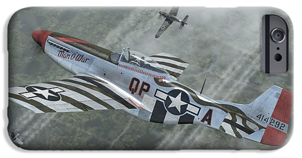 P-51 Mustang iPhone Cases - Man O War iPhone Case by Robert Perry