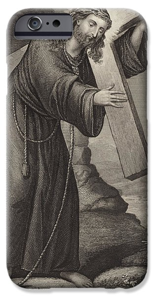 Christ Drawings iPhone Cases - Man of Sorrow iPhone Case by English School