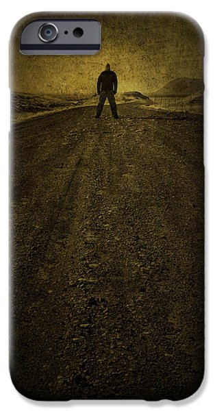 Road Travel iPhone Cases - Man on A Mission iPhone Case by Evelina Kremsdorf