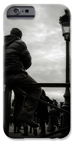 Pleasure iPhone Cases - Man On A Parisian Bridge iPhone Case by Marco Oliveira