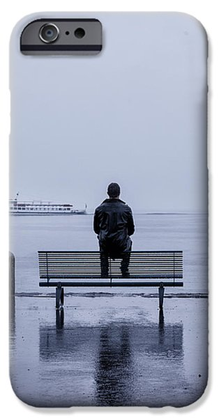 man on bench iPhone Case by Joana Kruse