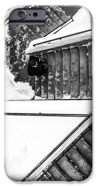 Concord. Winter iPhone Cases - Man on staircase Concord New Hampshire 2015 iPhone Case by Edward Fielding