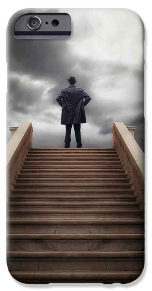 Stairs iPhone Cases - Man On Stairs iPhone Case by Joana Kruse