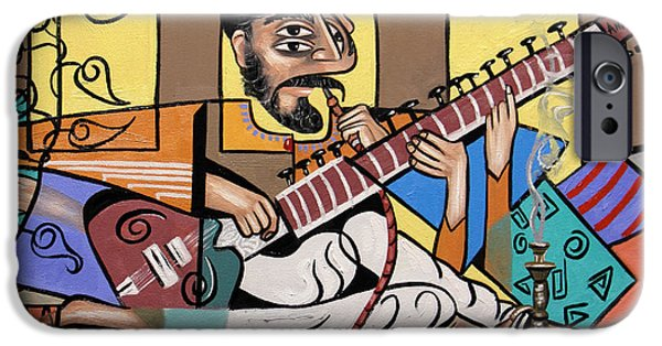 Green Framed Prints Digital iPhone Cases - Man Playing A Sitar iPhone Case by Anthony Falbo