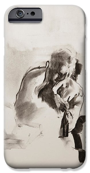 Book Pastels iPhone Cases - Man reading iPhone Case by Janet Goddard