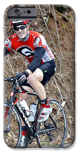 Man Riding Bike in a Race iPhone Case by Susan Leggett