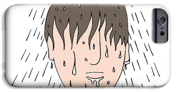 Shower Head Digital Art iPhone Cases - Man Showering iPhone Case by John Takai