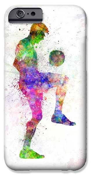Juggling iPhone Cases - Man Soccer Football Player iPhone Case by Pablo Romero