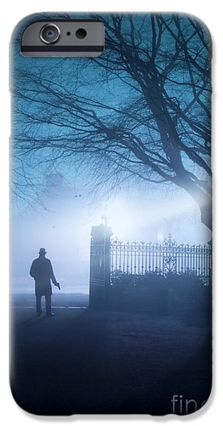 Creepy iPhone Cases - Man Standing In Foggy Gateway At Night iPhone Case by Lee Avison
