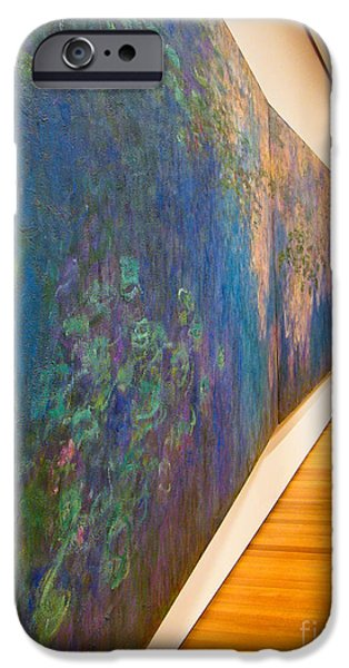Modernart iPhone Cases - Man Studies Monet Painting iPhone Case by Amy Cicconi