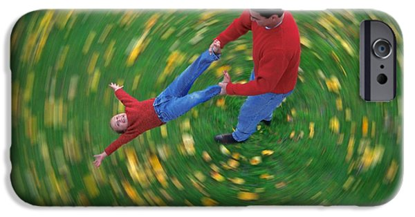 Bonding iPhone Cases - Man Swinging Child Through Air iPhone Case by Don Hammond