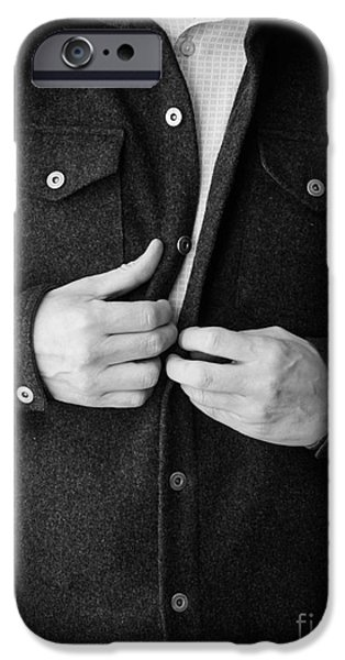 Man Unbuttoning His Shirt iPhone Case by Edward Fielding