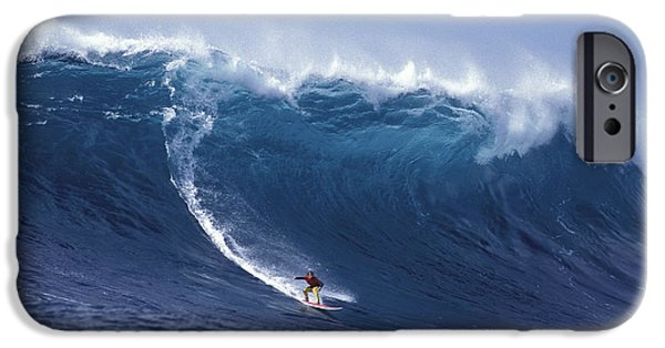 Big Waves iPhone Cases - Man Vs Mountain iPhone Case by Sean Davey
