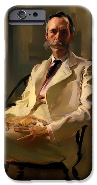 House Pet Paintings iPhone Cases - Man with a Cat iPhone Case by Celcilla Beaux