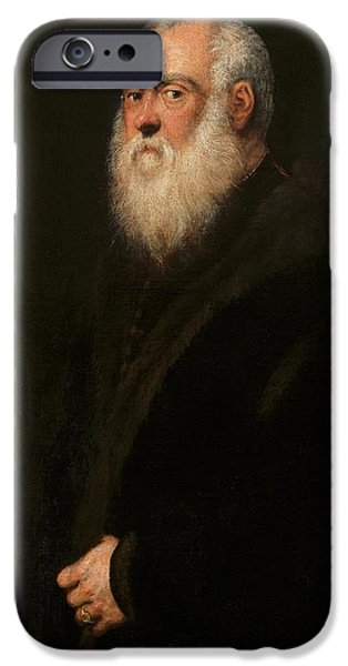 Old Man With Beard iPhone Cases - Man with a White Beard iPhone Case by Tintoretto