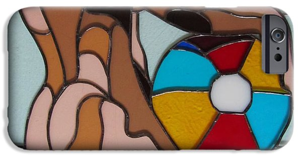 Figures Glass Art iPhone Cases - Man with Beach Ball iPhone Case by Jeffrey Todd Moore