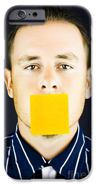 Censorship iPhone Cases - Man with blank paper note over his mouth iPhone Case by Ryan Jorgensen