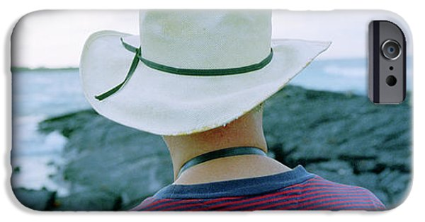 Surf Lifestyle Photographs iPhone Cases - Man With Straw Hat Galapagos Islands iPhone Case by Panoramic Images