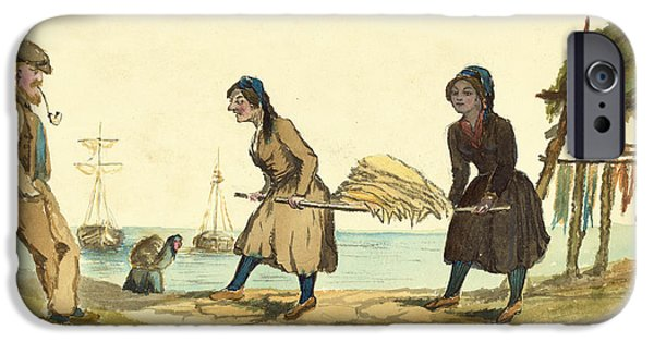 Harbor Drawings iPhone Cases - Man working and Icelandic women working circa 1862 iPhone Case by Aged Pixel