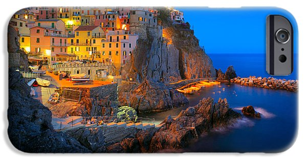 Night Lamp iPhone Cases - Manarola by night iPhone Case by Inge Johnsson