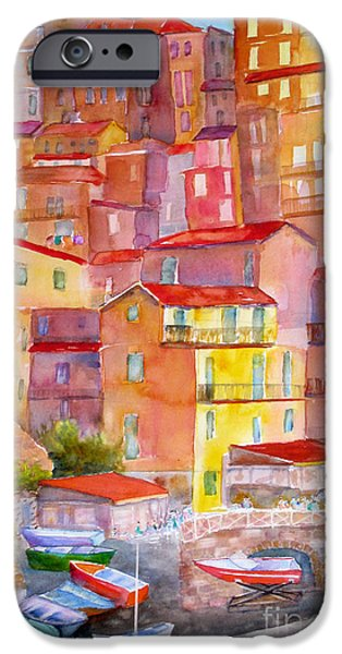 Ancient Paintings iPhone Cases - Manarola Italy iPhone Case by Mohamed Hirji