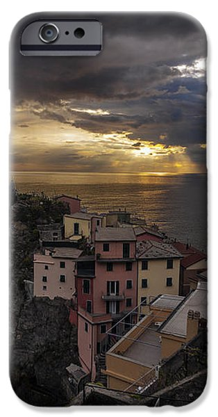 Manarola Sunset Storm iPhone Case by Mike Reid