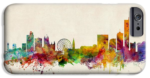 Britain iPhone Cases - Manchester England Skyline iPhone Case by Michael Tompsett