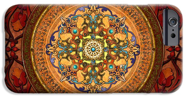 Bedros Mixed Media iPhone Cases - Mandala Arabia sp iPhone Case by Bedros Awak