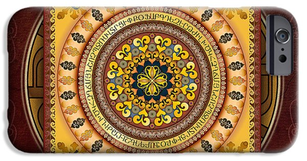 Bedros Mixed Media iPhone Cases - Mandala Armenia IyPenKimTa sp iPhone Case by Bedros Awak